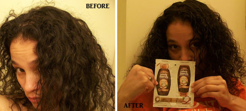 Before and After Using Garnier Smoothing Whole Blends
