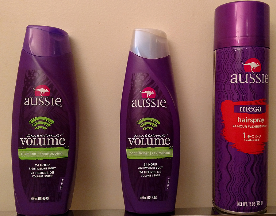 Aussie Aussom Volume Shampoo Conditioner and Mega Hairspray