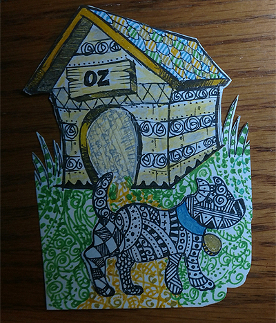 In the Dog House #ATC Art Card Swap - #Zentangle Dog
